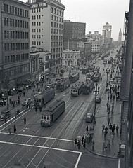 D4831  SFMTA Archives Photo (market street railway) Tags: 17haightandinglesidestreetcarline 1944 2ndstreet automobile cgearycaliforniastreetcarline californiaca dseries d4831 downtownsanfrancisco february18 ferrybuilding flatironbuilding georgefanningphotographer marketstreet mobilgasbillboard motorvehiclecar munipuccollection publicutilitiescommissionpuc sfmtaphotoarchive sanfrancisco sanfranciscomunicipalrailwaymuni sanfranciscomunicipaltransportationagency streetcar trafficcongestion blurred mediumquality ca usa us