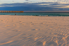 Sunset at Navarre (Monique Dinkel) Tags: navarrebeachflorida gulfofmexico gulf waves clouds blue green orange gray
