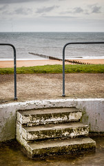 Steps and Blyth beach. (CWhatPhotos) Tags: cwhatphotos steps shelter view out posts photograph pics pictures pic picture image images foto fotos photography artistic that which contain digital blyth north east england uk beach seaside coast coastal sea waters sand sandy winter 2018 january sky skies golden sands