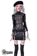 PashaPasha doll in clothes by ELENPRIV (elenpriv) Tags: pashapasha fashion doll handmade clothes elenpriv elena peredreeva black mini skirt beret