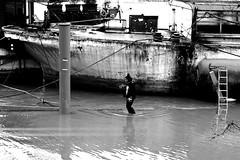Overflow (pascalcolin1) Tags: paris13 femme woman seine eau water bateau boat flood inondation péniche barge photoderue streetview urbanarte noiretblanc blackandwhite photopascalcolin canon50mm 50mm canon