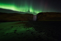 Skogafoss (sven483) Tags: skogafoss iceland skogar aurora northern lights river night green landscape waterfall