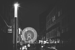 Leipzig By Night (donlunzo16) Tags: nikon df black white bw lightroom raw nef preset vsco film vignette pack 3x nd filter city town nikkor afs lens 58mm f114 blackwhite east germany leipzig weekend carousel street streetlights night light promenade
