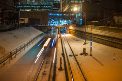 The Need for Speed (A Great Capture) Tags: agreatcapture agc wwwagreatcapturecom adjm ash2276 ashleylduffus ald mobilejay jamesmitchell toronto on ontario canada canadian photographer northamerica torontoexplore winter l'hiver subway speed night long exposure tracks train bridge downtown lights movement action ttc torontotransitcommision public red rocket redrocket 2018 city urban dark nighttime cold snow weather