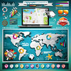 Vector summer travel infographic set with world map and vacation elements. EPS 10 illustration. (bolaos56) Tags: illustration background travel summer abstract vector home infographics house sky creative design urban chart city architecture vacation beach card tree info retro icons nature sun button ribbon information set elements website template icon business symbol hawaii palm holiday anchor shipsteeringwheel lifebelt ship happy tour eps10 collection sea globe map sunglasses