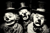 'ere, stop clownin' around! (Corbicus Maximus) Tags: clown clowns iphone 5s blackandwhite sepia scary bow tie top hat red nose