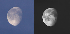 Single handheld shot of moon vs 5 frames fused. (kyliepics) Tags: olympus e520 evolt520 olympuszuikodigital70300mmf4056 darktable gimp addedtogroups