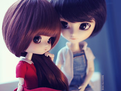 Sweethearts (Saga☆) Tags: yeolume full custom pullip groove aga obitsu21 obitsu 21 crobidoll crobi doll girl repaint faceup makeover mikiyochii mikiyo freckles brown dark auburn hair wig bangs eyes cute lovely pretty sweet young child baby kid toy asian saga sagelith rose rosie isul gosick kujo kazuya boy martin goyfriend girlfriend pair romantic valentines valentine love relationship sweethearts sweetheart couple