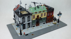 Small town scene (Kris_Kelvin) Tags: moc lego city town modular truck street building architecture