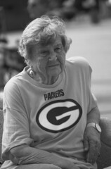 Granny 'G' (RICHARD OSTROM) Tags: monochrome fans football fight game gameday greenbaypackers greenbay lambeau hero life loud sports young rally girl power upper people protest packers pride protests party
