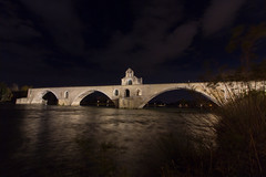 Pont D'avignon (-dangler) Tags: dandangler rhôneriver avignonfrance france europe outdoors outside night nighttime longexposure city lights travel adventure empty alone scenic wallart architecture historic holiday bridge church chapel water river reflection tourism