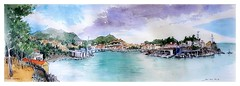 Port Vendres - Occitanie - France (guymoll) Tags: panoramic panoramique croquis sketch derwent portvendres occitanie france aquarelle watercolour watercolor