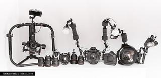 Une partie du parc de materiel utilisé : Canon 1dxmkII, 5d, 7d, Sony a7 ...