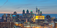 Philly Pre-Superbowl (rodgersam) Tags: philadelphia pennsylvania newjersey cityscape city skyscrapers skyline architecture green buildings dusk urbanlandscape lights