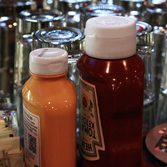 Just Waitin' on a Burger 0242018 (Orange Barn) Tags: mustard catsup bottles glasses bar condiments 118picturesin2018 darcyspint