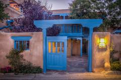 Side Entrance at Casa Benavides Inn (donnieking1811) Tags: newmexico taos casabenavidesinn blue entrance wall light outdoors dusk flowers hdr canon 60d lightroom photomatixpro