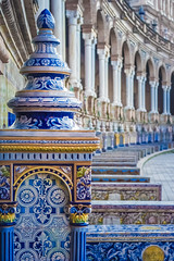 Azulejo (hildecarmans) Tags: colorful colors porcelain ceramics azulejos plazadeespana andalusia andalucia espana spain seville sevilla monument history buildings blue yellow old