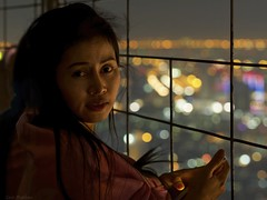 Admiring the city lights (Geir Bakken) Tags: thailand thai woman beautiful perfectbeauty nice night viewpoint bokeh bangkok m43 mirrorless microfourthirds portrait