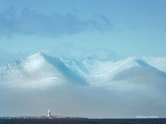 Lady Isle and Arran from Prestwick (g crawford) Tags: arran ladyisle prestwick ayrshire southayrshire snow clyde firthofclyde riverclyde crawford lighthouse