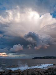 the omen  #P1070513 (lynnb's snaps) Tags: 2013 lx3 clouds digital landscape nature ocean storm colour sydney australia coast wave rocks northhead