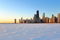 Hancock Tower over frozen Lake Michigan (dpsager) Tags: chicago dpsagerphotography hancocktower lakemichigan lakefront northavenue winter