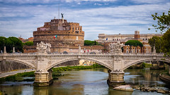 Castel Sant'Angelo and Ponte San Angelo (Michał Banach) Tags: castelsant'angelo italy pontesanangelo rome rzym sonydt1650mmf28ssm sonyilca77m tiber włochy ancient architecture building cityscape clouds landmark old outdoor outside river water roma lazio it