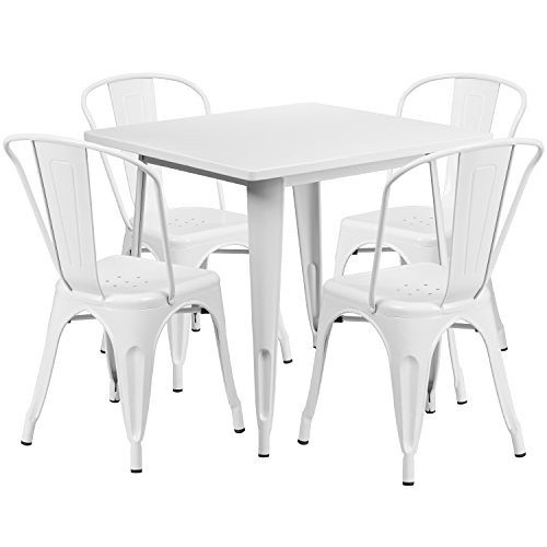 """Flash Furniture 31.5"""" Square White Metal Indoor-Outdoor Table Set with 4 Stack Chairs For Sale"""