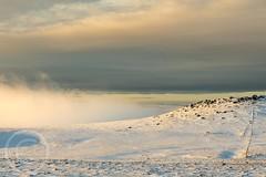 Pennine Winter Jan 2018 109 - The mist rolling back from West Nab (Mark Schofield @ JB Schofield) Tags: south pennines pennineway peat peak district digley holmemoss holme wessenden wessendenvalley wessendenhead westnab west huddersfield meltham yorkshire yorkshirewater reservoir transmitter mast overflow snow winter wintry icy sunset landscape canon eos 5dmk4 reflections cloud fog january marsden moors moorland hills valley