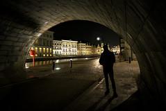 O dear... 😮 (Dannis van der Heiden) Tags: gent shadow man historic houses water scary shape underneath belgium city lantern street cobbledstreet tokina1628mmf28 d750 nikon figure night ghent bridge nikond750