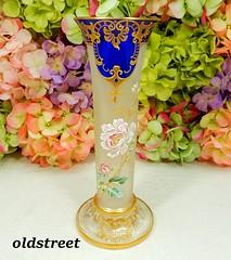 Rare Antique Moser Art Glass Signed Vase Enameled Pink Flowers Cobalt Gold Gilt (Donna's Collectables) Tags: rare antique moser art glass signed vase enameled pink flowers cobalt gold gilt