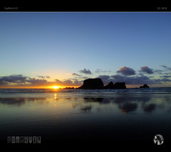 Almost Gone (tomraven) Tags: sunset sky clouds sun island reflections tmraven aravenimage silhouette miror coast coastal landscape q12018 fujifilm xs1