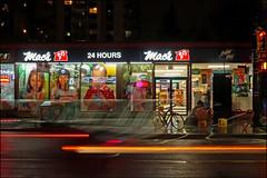 Three Hearts (HereInVancouver) Tags: night city urban rain homeless hearts conveniencestore blur outdoors vancouver bc canada daviestreet canong9x homelesswoman