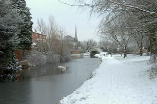 Snowy canal at Preston
