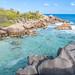 Naturschwimmbad an der Petite Anse Cocos auf La Digues, Seychellen