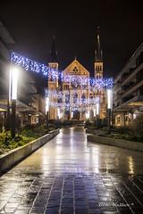 Basilique Saint-Remi (Reims) (La Marnaise de Photographie) Tags: reims reimstourisme marne saintremi basilique nuit night noiretblanc blackandwhite bw nb pluie