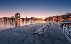 Take a seat and enjoy (Stefan Sellmer) Tags: schleswigholstein longexposure blue sunrise winter benches germany mood outdoor lake kiel cityscape bluesky deutschland de