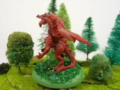 dragon4 (Giantnerdguy) Tags: dragon tree trees bush bushes red green white reaper mini miniature paint painting