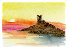fort sanguinaire (ybipbip) Tags: aquarelle aquarell akvarell watercolor watercolour paint painting pintura paysage landscape