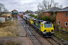 70010 + 66955 - March - 03/02/18. (TRphotography04) Tags: freightliner 70010 66955 dit pass through march working diverted 4m87 0946 felixstowe north flt crewe bas hall ssn