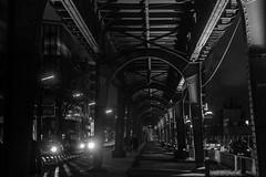 on those dark nights / give me shelter (Özgür Gürgey) Tags: 2018 50mm bw d750 darkcity hafen hamburg nikon architecture evening grainy lights lowlight overpass repetition street subway