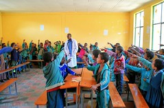 energetic school kids (Neal J.Wilson) Tags: ethiopia africa travel heart color colour nikon d5600 ethiopian kids children school learning teacher answers hands up tigray third world education classroom