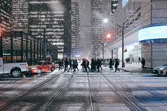 we're.in.this.together (jonathancastellino) Tags: toronto cbd downtown king yonge winter weather crossing intersection leica q snow fall along turn group cross street bank night storm ngc