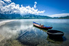 Coracle and Fishing Boat, Cầu Hai Bay, Vietnam (KSAG Photography) Tags: boat coracle fishing lake water reflection landscape mountain countryside rural vietnam asia southeastasia asean nikon september 2017 travel tourism sun clouds coast
