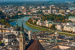 City View with Salzach River (fotofrysk) Tags: cityview salzachriver landscape churches bridges castle festung festunghohensalzburg architecture easterneuropetrip salzburg austria oesterreich afsnikkor703004556g nikond7100 201709277623
