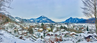 Winter panorama with The Alps in Bavaria, Germany