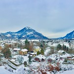 Winter panorama with The Alps in Bavaria, Germany thumbnail