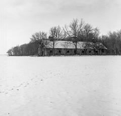 Barn in the Snow (yorgasor) Tags: hasselblad 503cw tmax400 planar80mm barn