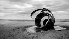 Mary's Shell (Dell's Pics) Tags: marys shell cleveleys beach mono monotone monochrome bw blackandwhite blackwhite olympus omd em5 sand sea water sculpture moody arty