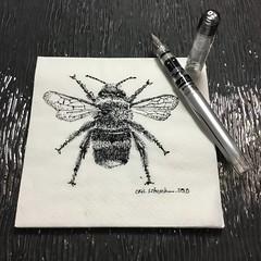 Napkin Beeeeeeee (schunky_monkey) Tags: illustration art pendrawing inksketch penandink ink pen fountainpen napkinsketch napkin drawing draw sketching sketch bug wings pollen honeybee insect bumblebee bee