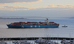 6401_MOL Prestige_Denise Foss_Andrew Foss_a (lg evans Maritime Images) Tags: maritimeimages ©lgevans lgevans lge molprestige denisefoss andrewfoss portofseattle elliottbay seattlewa engineroomfire disabled towed terminal18 water sunset ship cargo container tugboat tow bay